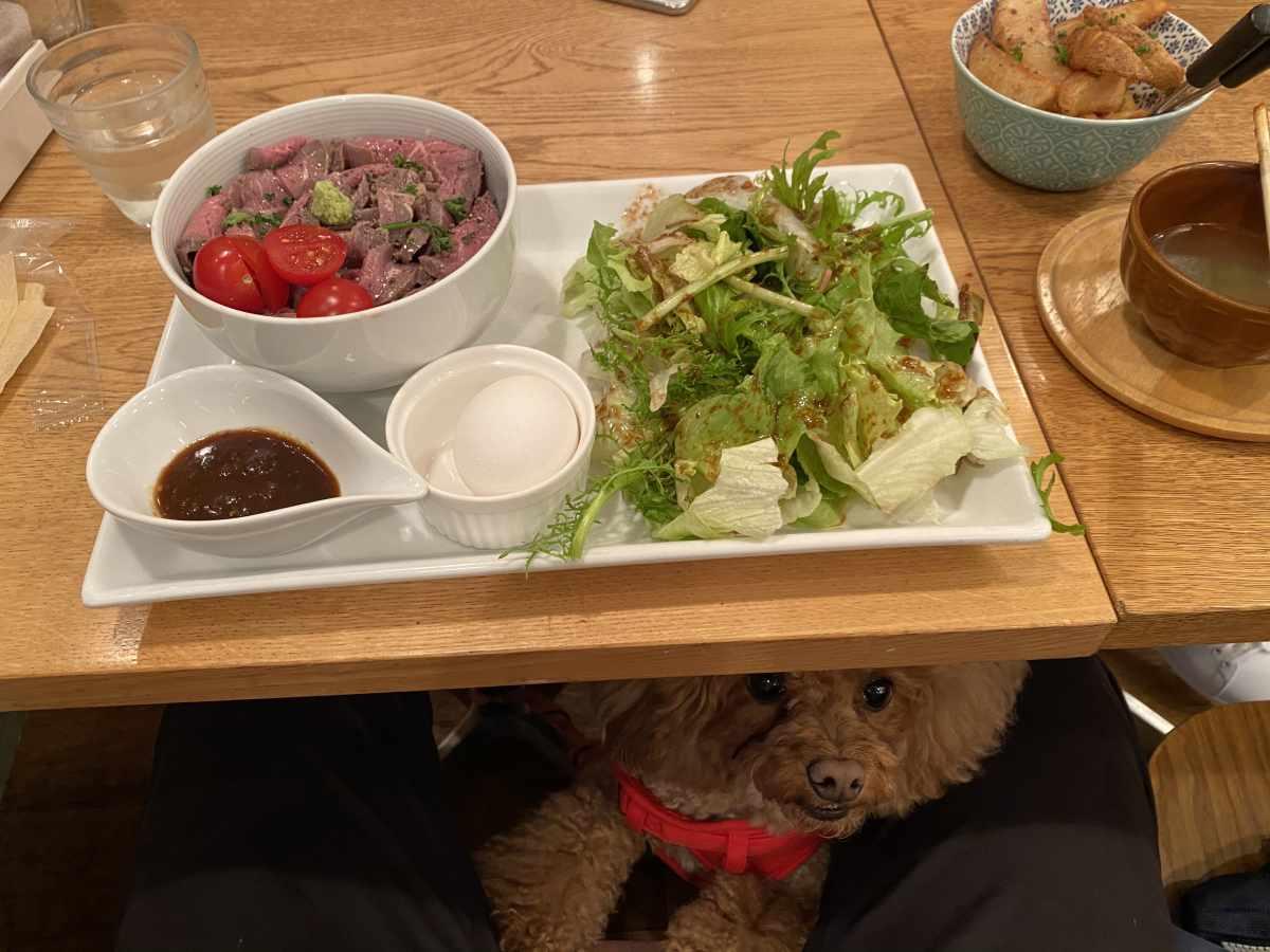 三宿、世田谷公園のサンデー (SUNDAY)の温玉ローストビーフ丼&グリーンサラダ