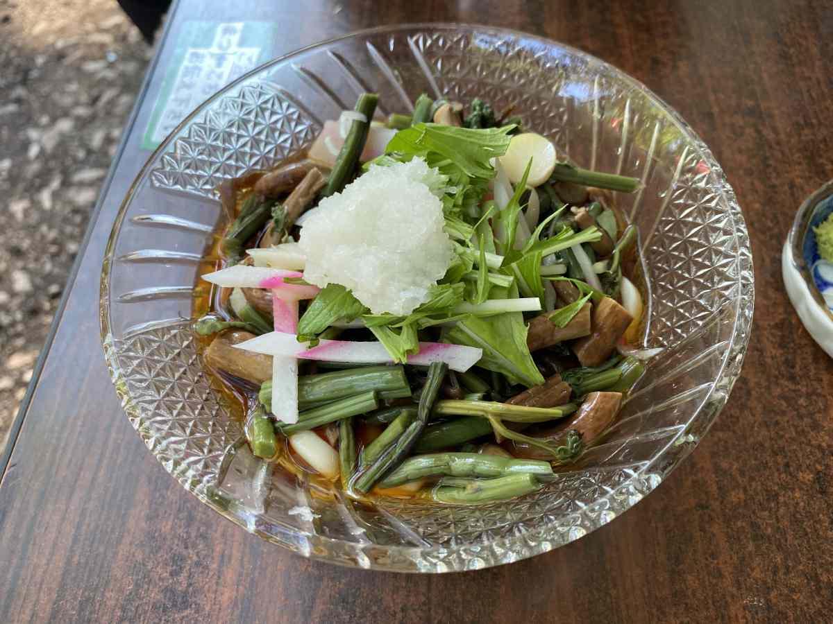 石神井公園の豊島屋の「山菜そば」