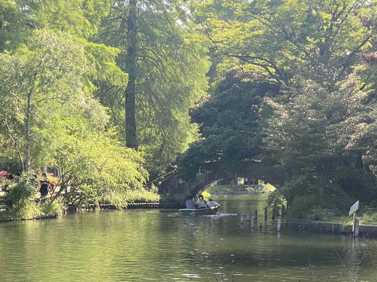 石神井公園の湖とボート