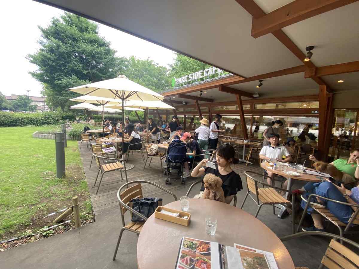 上野公園のパークサイドカフェ(park side cafe)のテラス席の雰囲気