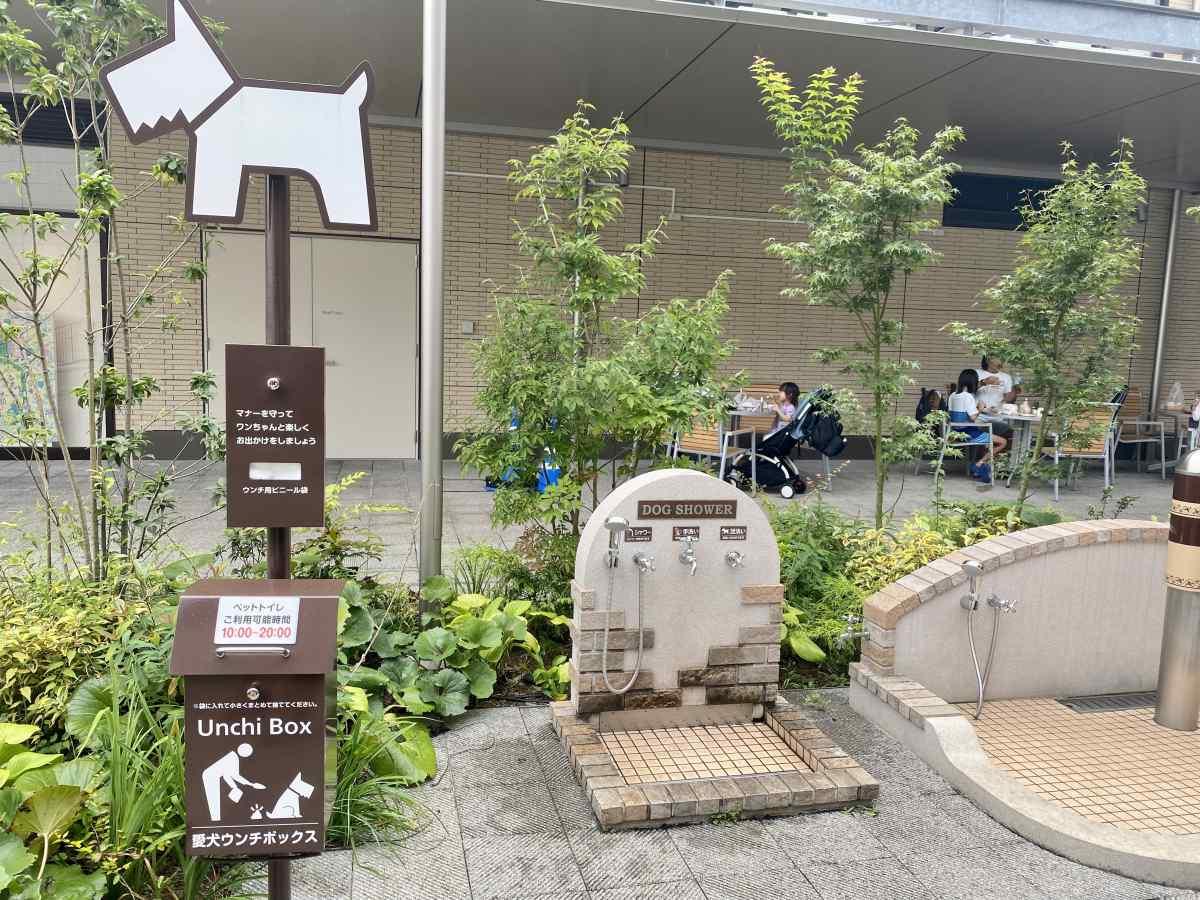 南町田グランベリーパークのうんちボックス、ドッグシャワー